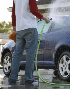 Man washing his car